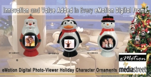 eMotion Photo Ornaments - Holiday Character Digital Photo-Viewers